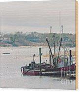 Red Fishing Boat Wood Print