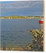 Red Fishing Boat In Twillingate Harbour-nl Wood Print