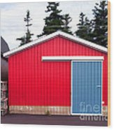 Red Fishing Shack Pei Wood Print by Edward Fielding
