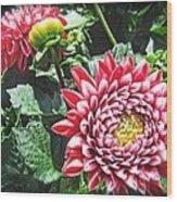 Red Floral Wood Print