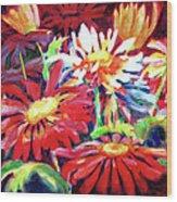 Red Floral Mishmash Wood Print