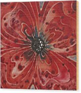 Red Flower 1 - Vibrant Red Floral Art Wood Print by Sharon Cummings