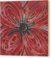 Red Flower 2 - Vibrant Red Floral Art Wood Print