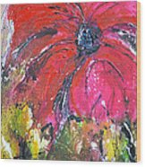 Red Flower - Abstract Painting Wood Print