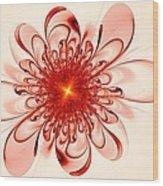 Single Red Flower Wood Print