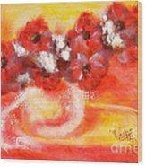 Red Flower Bouquet Wood Print