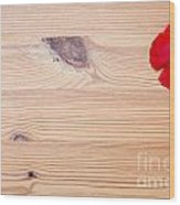 Red Flower On Wood  Wood Print