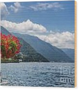 Red Flowers By Lake Como Italy Wood Print by Anna-Mari West