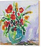 Red Flowers In A Vase Wood Print