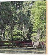 Red Footbridge Over Green Water Wood Print