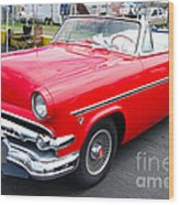 Red Ford Convertible Wood Print
