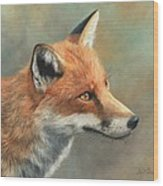 Red Fox Portrait Wood Print by David Stribbling