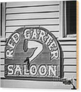 Red Garter Key West - Square - Black And White Wood Print