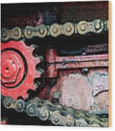 Red Gear Wheel And Chain Of Old Locomotive Wood Print by Matthias Hauser