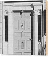 Red Georgian Door With Brass Letterbox Door Knob And Knocker In Dublin Wood Print