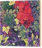 Red Geranium With Yellow And Purple Flowers - Horizontal Wood Print