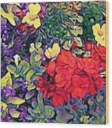 Red Geranium With Yellow And Purple Flowers - Vertical Wood Print
