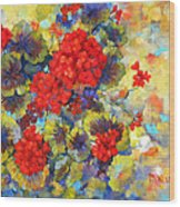 Red Geraniums II Wood Print