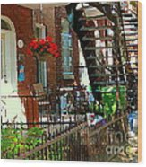 Red Geraniums Verdun Winding Staircases Hanging Flower Basket Montreal Porch Scene Carole Spandau Wood Print