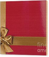 Red Gift Background With Gold Ribbon Wood Print