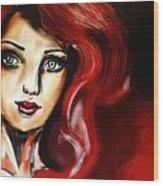 Red Girl Wood Print