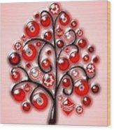 Red Glass Ornaments Wood Print