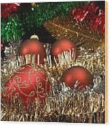 Red Gold Green Christmas Wood Print