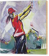 Red Golf Girl Wood Print