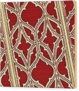Gothic Pattern On Red Wood Print