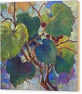 Red Grape Vines Wood Print