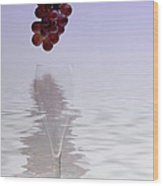 Red Grapes Wine Glass Fantasy Wood Print
