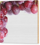 Red Grapes With White Copy Space Wood Print