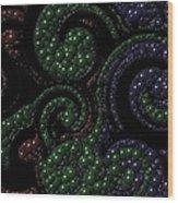 Red Green Blue Swirls Marbles Wood Print