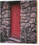 Red Grist Mill Door Wood Print