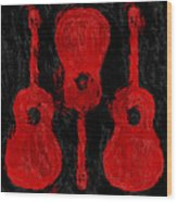 Red Guitars Wood Print