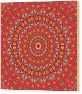 Red Gum Flowers Mandala Wood Print