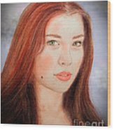 Red Hair And Blue Eyed Beauty With A Beauty Mark II Wood Print