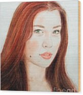 Red Hair And Blue Eyed Beauty With A Beauty Mark Wood Print