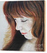 Red Hair And Freckled Beauty II Wood Print