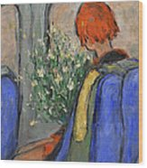 Red-haired Girl On A Sydney Train Wood Print