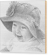 Red Hat Baby Pencil Portrait Wood Print
