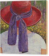 Red Hat Garden Wood Print