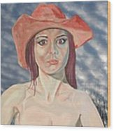 Red Hat Girl  Wood Print by Roger Medcalf