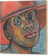 Red Hat Lady Wood Print by Xueling Zou
