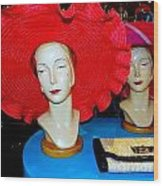 Red Hats Wood Print