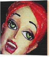 Red Head Around Corner Wood Print