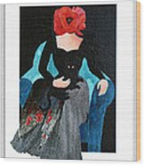 Red Head With Black Cat Wood Print by Eve Riser Roberts