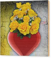 Red Heart Vase With Yellow Roses Wood Print