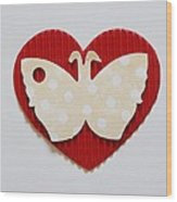 Red Heart With Butterfly Wood Print