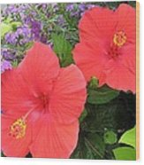 Red Hibiscus And Purple Blossoms Wood Print